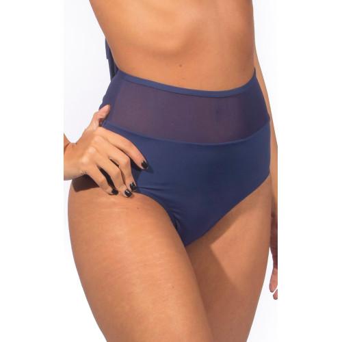 Biquíni cintura alta azul marinho com tule