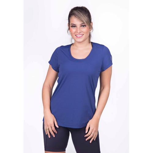 Camiseta Fitness com Proteção UV azul marinho